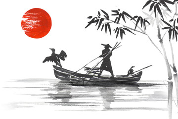 Fototapete - Japan Traditional japanese painting Sumi-e art Japan Traditional japanese painting Sumi-e art Man with boat