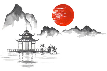Fototapete - Japan Traditional japanese painting Sumi-e art Sun Mountain Temple