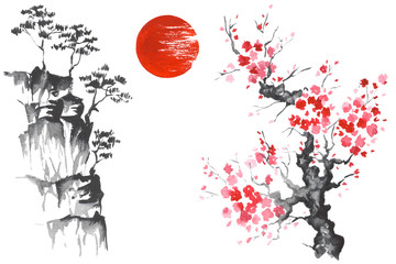 Japan Traditional japanese painting Sumi-e art Sun Sakura Wall mural