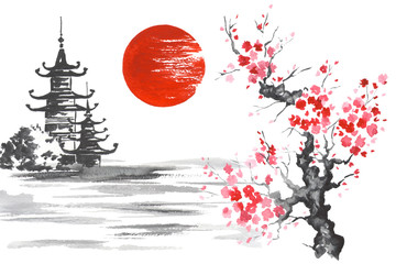 Wall Mural - Japan Traditional japanese painting Sumi-e art Sakura Sun Temple