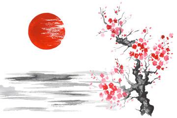Wall Mural - Japan Traditional japanese painting Sumi-e art Sakura