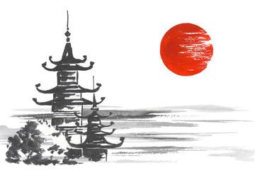 Fototapete - Japan Traditional japanese painting Sumi-e art Temple Sun Lake