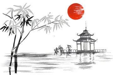 Wall Mural - Japan Traditional japanese painting Sumi-e art Bamboo Sun Lake