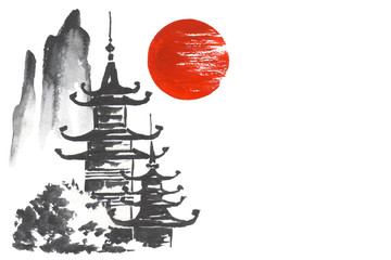 Fototapete - Japan Traditional japanese painting Sumi-e art Mountain Temple Sun