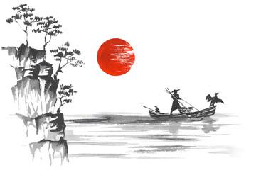 Fototapete - Japan Traditional japanese painting Sumi-e art Boat Man Hill Mountain Sun