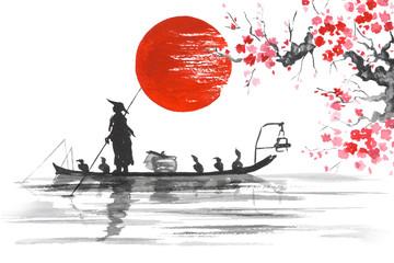 Wall Mural - Japan Traditional japanese painting Sumi-e art Japan Traditional japanese painting Sumi-e art Man with boat Sakura