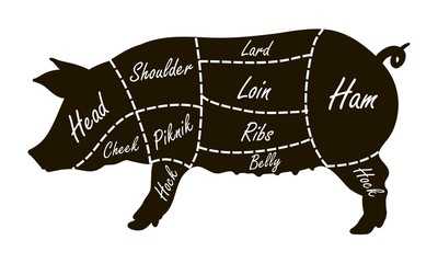 Pork cuts butcher diagram