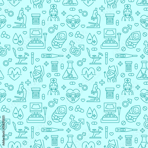 """""""Medical Seamless Pattern, Gynecology Vector Background"""