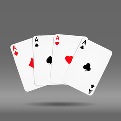 playing poker cards ace set