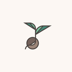 Fresh organic sprout. Modern line logo mark template or icon with sprouting seed