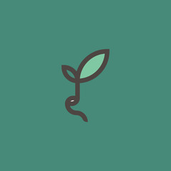 Fresh organic sprout. Modern line logo mark template or icon with sprouting bean on green background