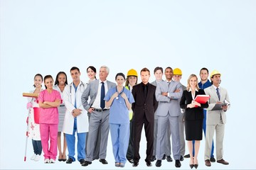 Worker from different professions against blue background