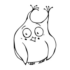 Cute Funny Embarrassed, Shy and Blushes Owl Bird . Isolated On a White Background. Doodle Cartoon Hand Drawn Sketch Vector Illustration Emoji Character.