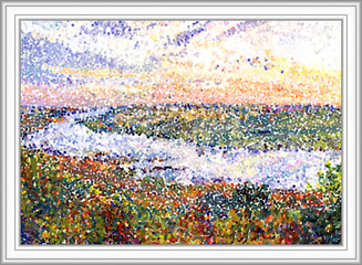 River landscape. River Tom. Russia. Siberia. This image made from gouache painting. Digital pointillism. End of summer