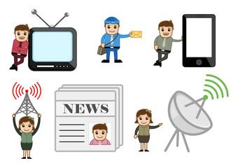 Entertainment and Communication Concepts Cartoon Vectors