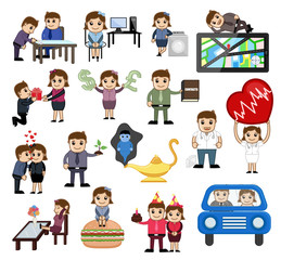 Various Business, Love and Technology Cartoon Graphics