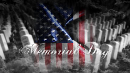 United States of America Memorial Day.Flag With Map of America and Text Remembrance of American War Heroes 3D illustration