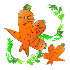 Smiling three carrot character from cartoon