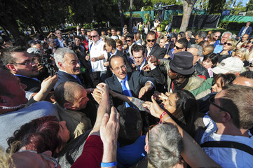 Francois Hollande, Socialist Party candidate for the 2012 French presidential election, during a campaign visit in Nice