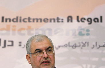 The head of Lebanon's Hezbollah parliamentary bloc Mohamed Raad speaks during a news conference in Beirut