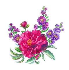 A bouquet of a collection of year-old pion and gillyflowers, a watercolor illustration on a white background.