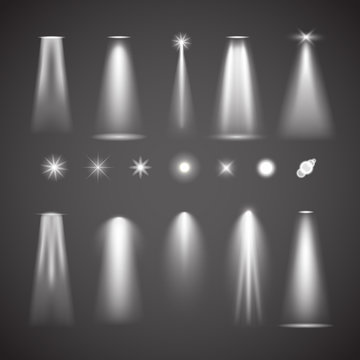 Different light effect elements. Bright lights vector collection