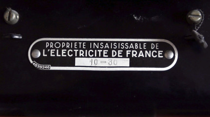 An illustration picture shows an electricity meter on a board in a private home in Bordeaux, southwestern France