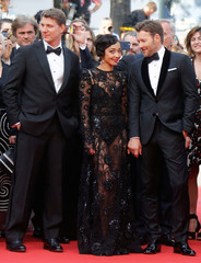 """Director Jeff Nichols poses with cast members Joel Edgerton and Ruth Negga  as they arrive on the red carpet for the screening of the film """"Paterson"""" in competition at the 69th Cannes Film Festival in Cannes"""