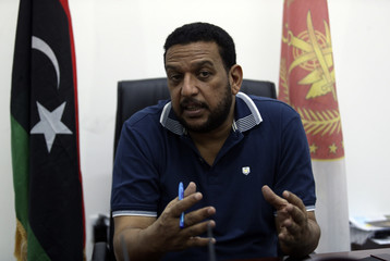 Ibrahim al-Sharaa, spokesman for Benghazi's Joint Security Room, speaks during an interview in Benghazi