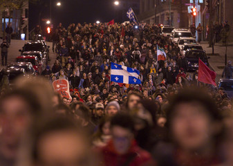Students march as they protest against tuition hikes in downtown Montreal
