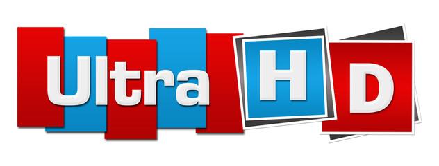 Ultra HD Red Blue Squares Stripes Horizontal