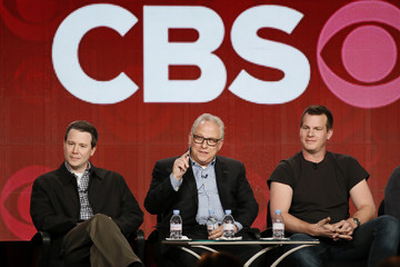 """Showrunners Doherty of """"Elementary"""", Glasberg of """"NCIS"""", and Nolan of """"Person of Interest"""" talk about CBS shows during the TCA Winter 2014 presentations in Pasadena"""