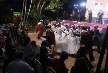 Paraguayan folk dancers perform during the Seventh International Harp Festival in Asuncion