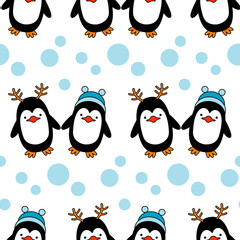 Seamless background with Christmas decorative penguins. Vector illustration.