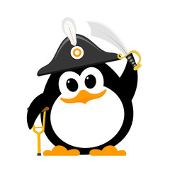 Abstract cute penguin in a pirate costume on a white background. Flat style child penguin in hat, with crutch and saber. Vector illustration