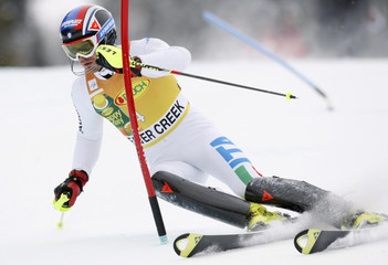Moelgg of Italy skis to the tenth best time in the first run of the men's World Cup slalom in Beaver Creek