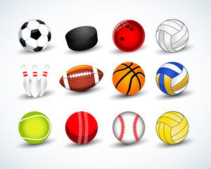 Sports balls vector set. hockey, baseball, cricket, basketball, soccer, tennis, football, baseball, bowling, golf, volleyball. Isolated vector illustration.