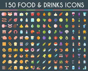 Food and drinks big icons set. Vector Illustration