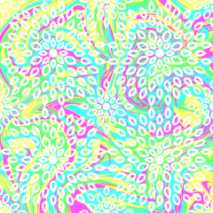 Seamless pattern in tie-dye style and mosaic. Multicolored dynamic background with elements of ornament. Patterns for edible icing sheets for covering cakes.