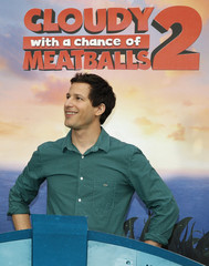 """Actor Samberg, one of the voice talents from the new Sony Pictures Animation film """"Cloudy with a Chance of Meatballs 2"""", poses during a photo call in Beverly Hills, California"""