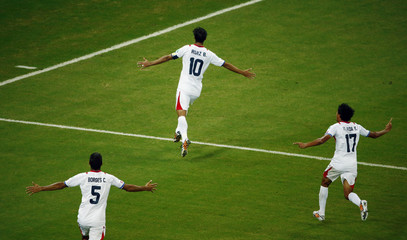 Costa Rica's Ruiz celebrates after scoring against Greece during their 2014 World Cup round of 16 game at the Pernambuco arena in Recife