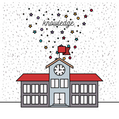 white background with sparkles of school building knowledge vector illustration
