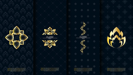 Packaging template of exotic Thai pattern design element concept navy background vector