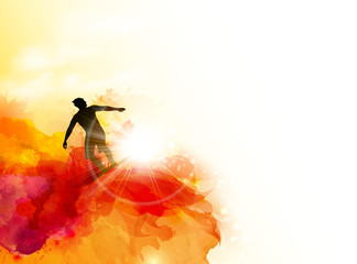 Abstract image of movement, speed and wave. Black silhouette of surfer on the sunset color watercolor blots background.