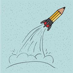 blue color background with sparkles of rocket-shaped pencil take off vector illustration