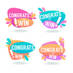 Congrats, You Win, Vector Congratulation Banners and Bubbles