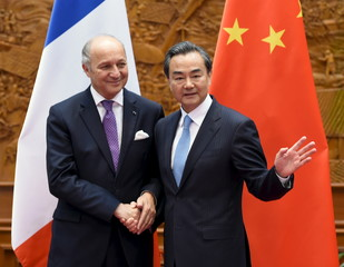 Wang shakes hands with Fabius in Beijing