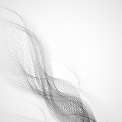 Abstract background with gray waves. Vector lines