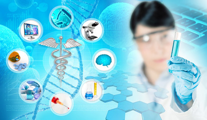 chemist holding a test tube in scientific abstract background