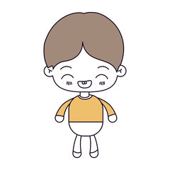 silhouette color sections and light brown hair of kawaii little boy with facial expression laughing vector illustration